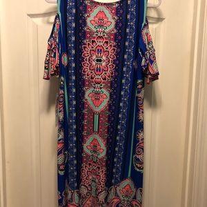 Multi colored cold shoulder dress
